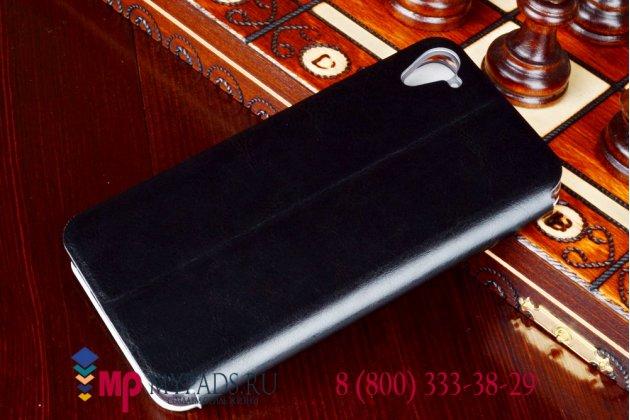 Фирменный чехол-книжка из качественной импортной кожи с подставкой для HTC Desire 826 черный