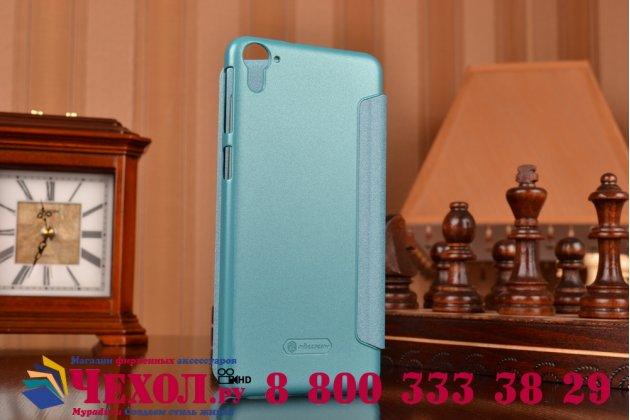 """Фирменный оригинальный чехол-книжка для HTC Desire 826 5.5"""" голубой кожаный с окошком для входящих вызовов"""