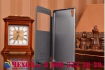 Фирменный оригинальный чехол-книжка для HTC Desire 826 /826 G+ Dual Sim черный кожаный с окошком для входящих вызовов