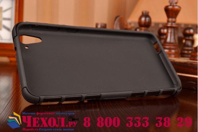 Противоударный усиленный грязестойкий фирменный чехол-бампер-пенал для HTC Desire 826 черный