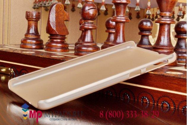 Фирменная задняя панель-крышка-накладка из тончайшего и прочного пластика для HTC Desire 826 /826 G+ Dual Sim золотая