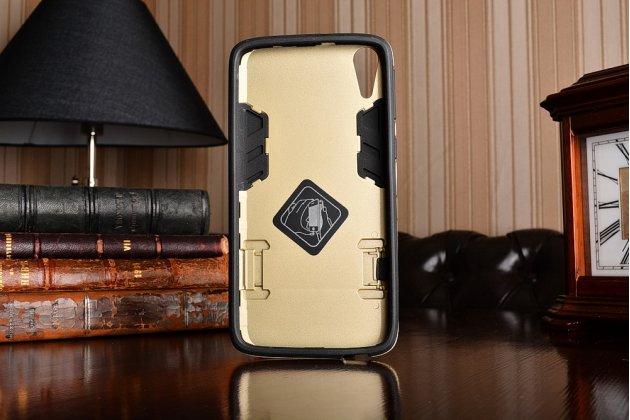 """Противоударный усиленный ударопрочный фирменный чехол-бампер-пенал для HTC Desire 828/ 828 dual sim 5.5""""  золотой"""
