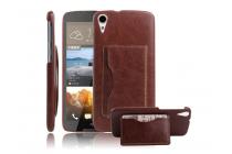 """Фирменная роскошная элитная премиальная задняя панель-крышка для HTC Desire 828/ 828 dual sim 5.5"""" из качественной кожи буйвола с визитницей коричневый"""