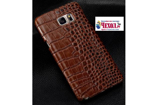 Фирменная элегантная экзотическая задняя панель-крышка из натуральной кожи крокодила для HTC Desire 830 Dual Sim 5.5 коричневая.Только в нашем магазине. Количество ограничено