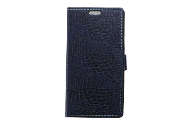 "Фирменный чехол-книжка с подставкой для HTC Desire 830 Dual Sim 5.5"" лаковая кожа крокодила темно-синий"