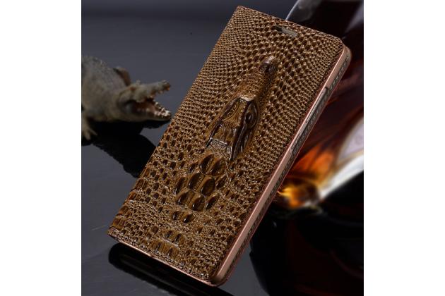 """Фирменный роскошный эксклюзивный чехол с объёмным 3D изображением кожи крокодила коричневый для HTC Desire 830 Dual Sim 5.5"""" . Только в нашем магазине. Количество ограничено"""