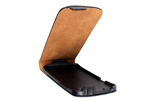 Фирменный оригинальный вертикальный откидной чехол-флип для HTC Desire V T328w черный кожаный