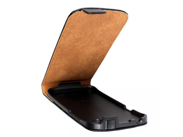 Фирменный оригинальный вертикальный откидной чехол-флип для HTC Desire V T328w черный кожаный..