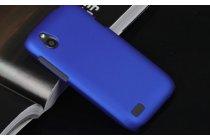 Фирменная задняя панель-крышка-накладка из тончайшего и прочного пластика для HTC Desire V T328w синяя