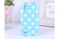 """Фирменная необычная уникальная пластиковая задняя панель-чехол-накладка для HTC Desire V T328w """"тематика в горошек"""" голубая"""