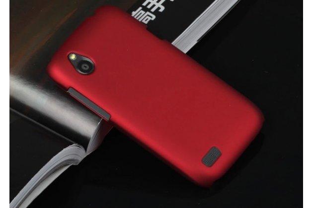 Фирменная задняя панель-крышка-накладка из тончайшего и прочного пластика для HTC Desire V T328w красная