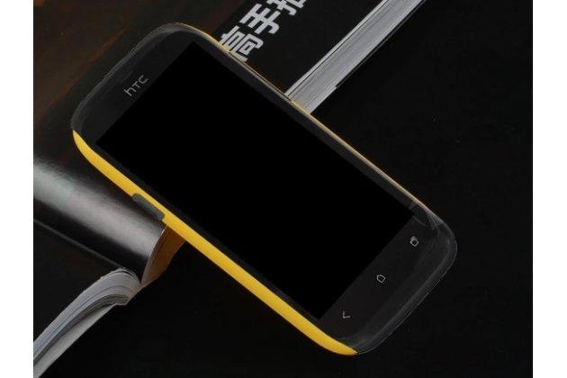 Фирменная задняя панель-крышка-накладка из тончайшего и прочного пластика для HTC Desire V T328w желтая