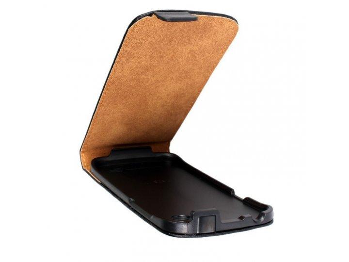 Фирменный оригинальный вертикальный откидной чехол-флип для HTC Desire X T328e черный кожаный..