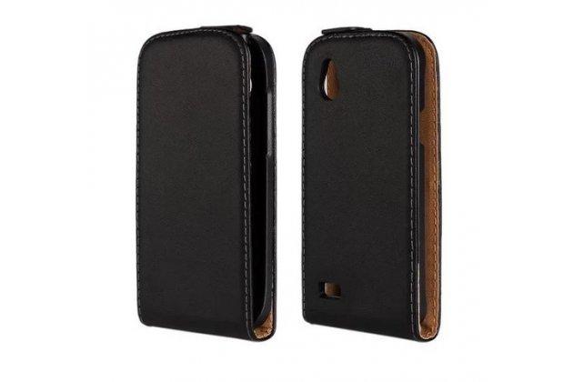 Фирменный оригинальный вертикальный откидной чехол-флип для HTC Desire X T328e черный кожаный
