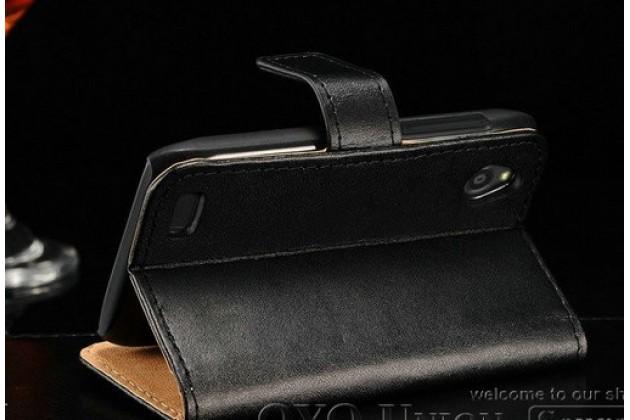 Фирменный чехол-книжка из качественной импортной кожи с подставкой застёжкой и визитницей для ХТС Дезайр Икс Т328е черный