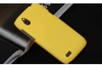 Фирменная задняя панель-крышка-накладка из тончайшего и прочного пластика на HTC Desire X T328e желтая