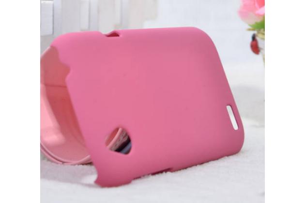 Фирменная задняя панель-крышка-накладка из тончайшего и прочного пластика на HTC Desire X T328e розовая
