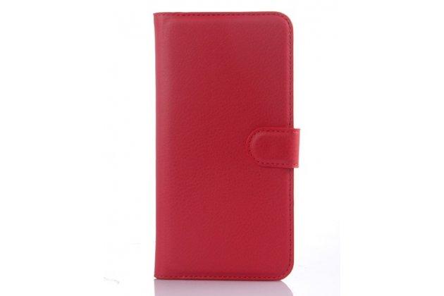 """Фирменный премиальный элитный чехол-книжка из качественной импортной кожи с мульти-подставкой и визитницей для HTC One E9 Plus """"Ретро"""" красный"""