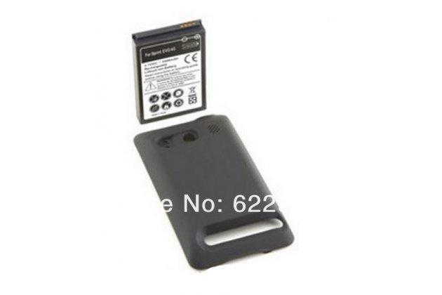 Усиленная батарея-аккумулятор большой повышенной ёмкости 3500mAh для телефона HTC EVO 4G + задняя крышка черная + гарантия