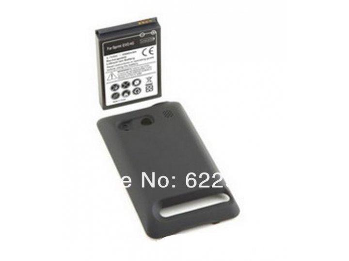 Усиленная батарея-аккумулятор большой повышенной ёмкости 3500mAh для телефона HTC EVO 4G + задняя крышка черна..