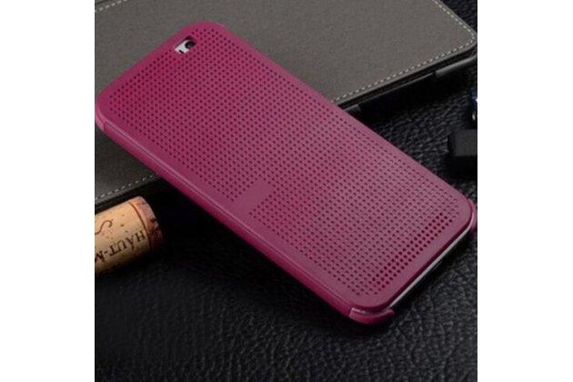 Чехол с мультяшной 2D графикой и функцией засыпания для HTC One E8 в точечку с дырочками прорезиненный с перфорацией фиолетовый