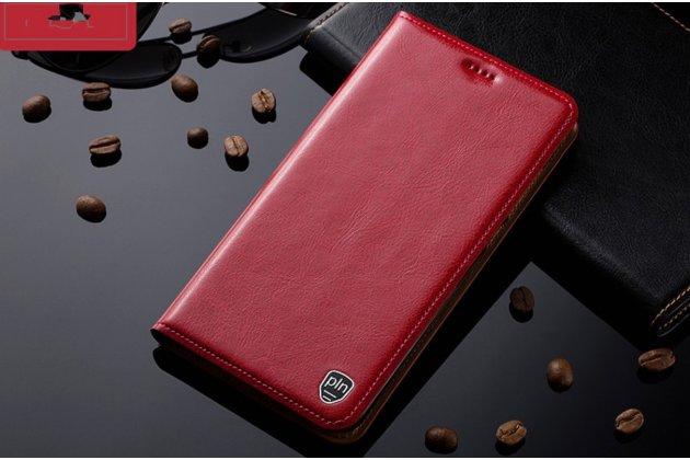Фирменный премиальный чехол бизнес класса для HTC One E9 Plus/E9  plus dual sim с визитницей из качественной импортной кожи красный