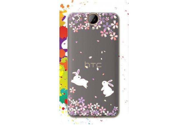Фирменная из тонкого и лёгкого силикона задняя панель-чехол-накладка для HTC One E9 Plus прозрачная с принтом Зайчики