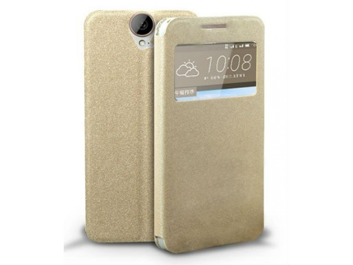 Фирменный чехол-книжка для HTC One E9 Plus золотой с окошком для входящих вызовов ..