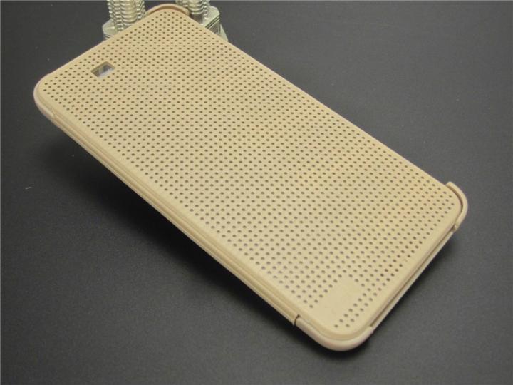 Фирменный оригинальный официальный умный чехол Dot View flip case для HTC One E9 Plus/E9+ plus dual sim золото..