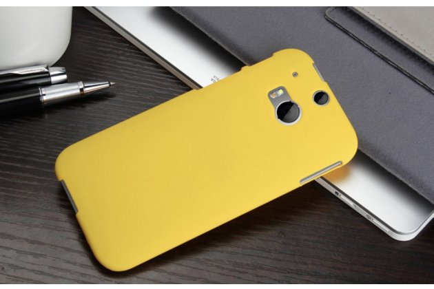 Фирменная задняя панель-крышка-накладка из тончайшего и прочного пластика для HTC One M8/M8s/(M8) EYE золотая