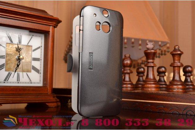 Фирменный чехол-книжка для HTC One M8 Dual Sim/M8s/(M8) EYE черный кожаный с окошком для входящих вызовов