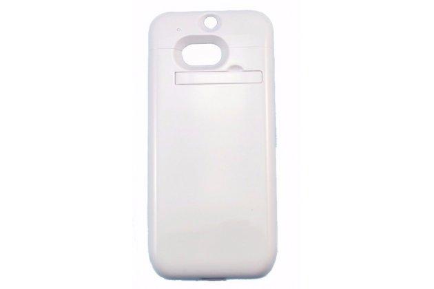 Чехол-бампер со встроенным усиленным аккумулятором большой повышенной расширенной ёмкости 4200mAh для HTC One M8/ M8 Dual Sim/M8s/(M8) EYE белый + гарантия