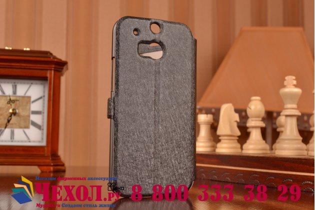 Фирменный оригинальный чехол-книжка для HTC One M8/ M8 Dual Sim/M8s/(M8) EYE черный водоаталкивающий с окошком для входящих вызовов и свайпом