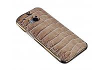 Ультра-тонкая пластиковая задняя панель-крышка для HTC One M8/ M8 Dual Sim/M8s/(M8) EYE лаковая кожа крокодила серая