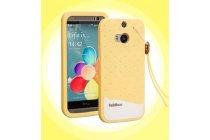 """Фирменная необычная уникальная полимерная мягкая задняя панель-чехол-накладка для HTC One M8/M8s/(M8) EYE """"тематика Андроид в банановом шоколаде"""""""