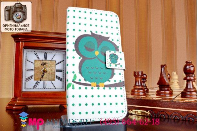"""Фирменный уникальный необычный чехол-книжка для НТС Оне М8 """"тематика Сова"""""""