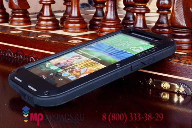 Неубиваемый водостойкий противоударный водонепроницаемый грязестойкий влагозащитный ударопрочный фирменный чехол-бампер для HTC One M8/ M8 Dual Sim/M8s/(M8) EYE цельно-металлический со стеклом Gorilla Glass
