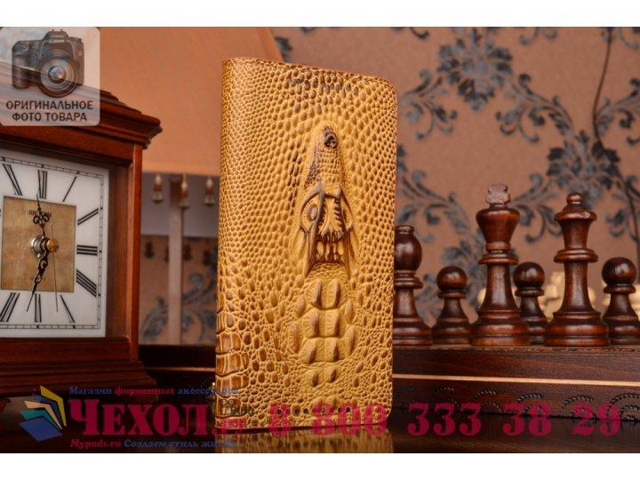 Фирменный роскошный эксклюзивный чехол с объёмным 3D изображением кожи крокодила коричневый для HTC One M9 Plu..