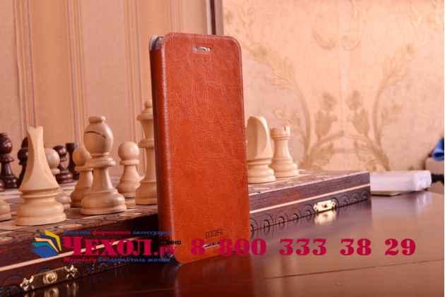 Фирменный чехол-книжка из качественной водоотталкивающей импортной кожи на жёсткой металлической основе для HTC One M9 Plus коричневый