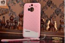 """Фирменная необычная уникальная полимерная мягкая задняя панель-чехол-накладка для HTC One M9 Plus """"тематика Андроид в клубничном шоколаде"""""""