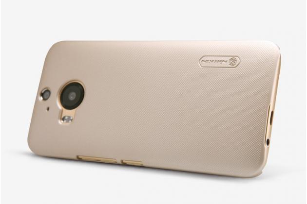 Фирменная задняя панель-крышка-накладка из тончайшего и прочного пластика для HTC One M9 Plus золотая