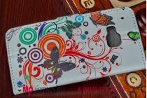"""Фирменный уникальный необычный чехол-книжка для HTC One M9/ M9s/M9 Prime Camera Edition """"тематика цветок Сакуры"""""""