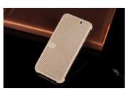 Фирменный оригинальный умный чехол Dot View flip case для HTC One M9 Plus жемчужный..