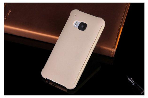 Фирменный оригинальный умный чехол Dot View flip case для HTC One M9 Plus жемчужный