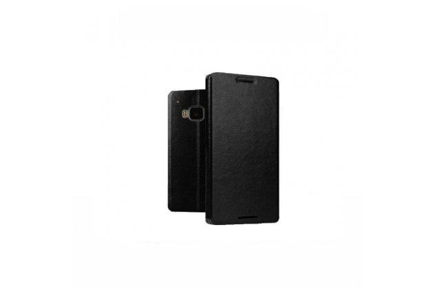 Фирменный чехол-книжка из качественной водоотталкивающей импортной кожи на жёсткой металлической основе для HTC One M9/ M9s/ M9 Prime Camera Edition черный