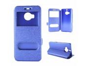 Фирменный оригинальный чехол-книжка для HTC One M9 Plus  синий водоотталкивающий с окошком для входящих вызово..
