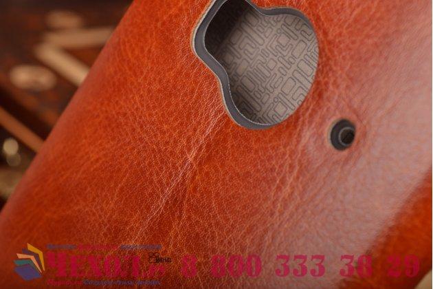 """Фирменный чехол-книжка  для  HTC One ME Dual Sim / M9e 5.2""""  из качественной водоотталкивающей импортной кожи на жёсткой металлической основе коричневого цвета"""