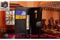 """Фирменный чехол-книжка  из качественной импортной кожи с мульти-подставкой застёжкой и визитницей для НТС Ван МЕ Дуал Сим/ М9е 5.2"""" черный"""