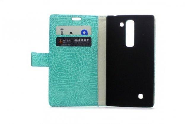 """Фирменный чехол-книжка с подставкой для HTC One ME Dual Sim / M9e 5.2"""" лаковая кожа крокодила цвет морской волны"""
