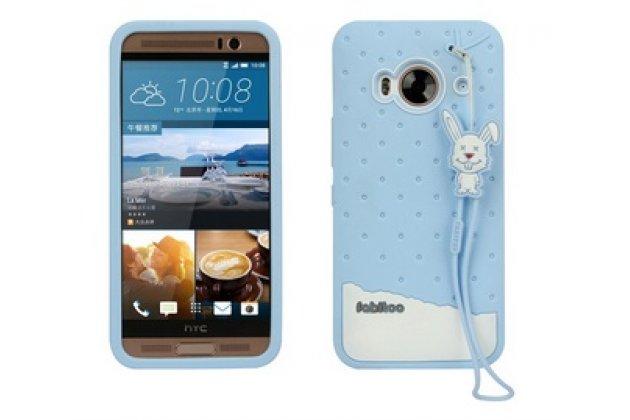 """Фирменная необычная уникальная полимерная мягкая задняя панель-чехол-накладка для HTC One ME Dual Sim / M9e 5.2  """"тематика Андроид в Черничном  Шоколаде"""""""